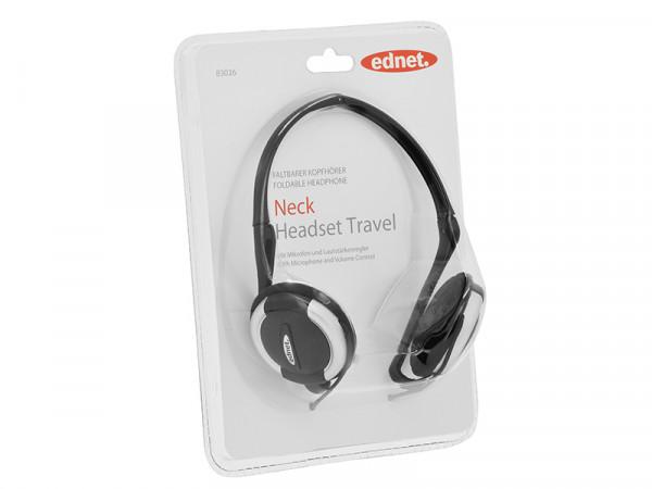 ednet 83026 Nacken-Headset inkl. Lautstärkeregler | Faltbar