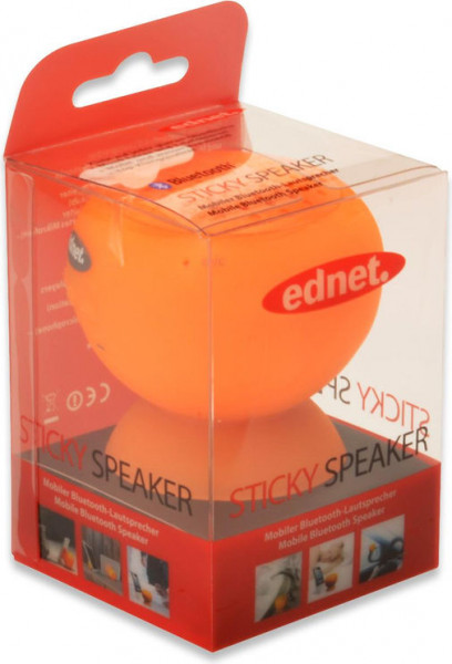 ednet Sticky Speaker | Wasserfester Bluetooth Lautsprecher mit Saugnapf 2W, Orange