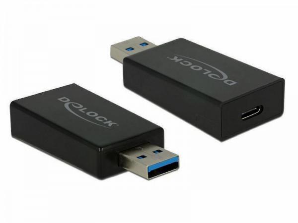 Delock Konverter USB 3.1 Gen 2 Typ-A Stecker > USB Type-C™ Buchse Aktiv schwarz