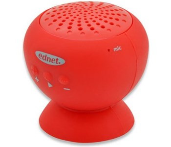 ednet Sticky Speaker | Wasserfester Bluetooth Lautsprecher mit Saugnapf 2W, Rot